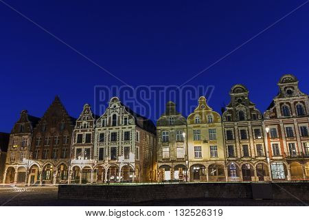 Row of Flemish-Baroque-style townhouses in Arras in France