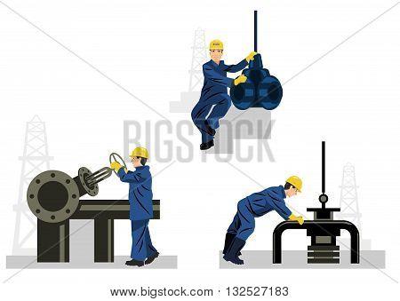 Vector illustration of a three oilman set