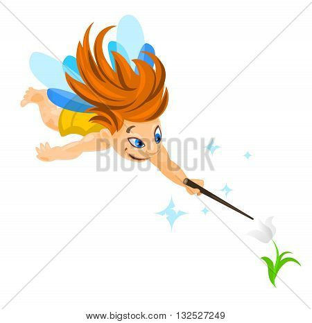 Vector illustration of a small flying fairy