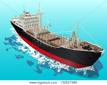 Vector illustration of detailed cargo vessel in the ocean. Can be used for web design cards logos and other design.