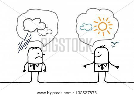 cartoon businessmen - optimistic and pessimistic