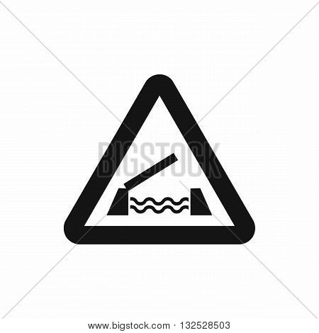 Lifting bridge warning sign icon in simple style isolated on white background