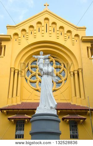NHA TRANG, VIETNAM - DECEMBER 31, 2015: The sculpture of the Madonna and Child at the Catholic Church Cua Bac Catholic Church. Religious landmark of the city Hanoi, Vietnam