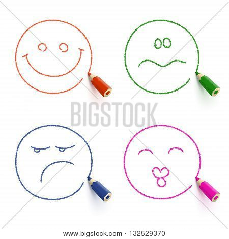 Smiley face, kissing face, sad face and disconcerted face drawn with colored pencil. Different emotion concept