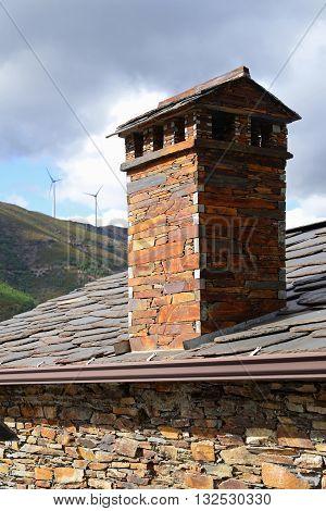 Chimney of unturned of schist stone in Piodão village Portugal