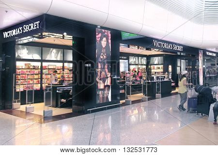 ATHENS GREECE - May 05: Victoria's Secret shop at Athens International Airport Eleftherios Venizelos with customers making purchases inside in Athens Greece - May 05 2015; Victoria's Secret is famous international lingerie brand.