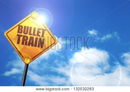 bullet train, 3D rendering, glowing yellow traffic sign