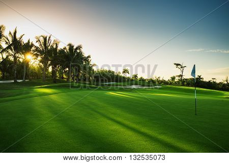 Golf course in the countryside in Punta Cana, Dominican Republic