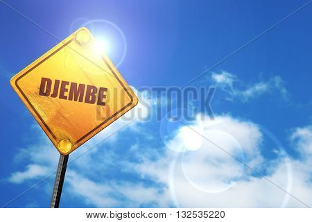 djembe, 3D rendering, glowing yellow traffic sign