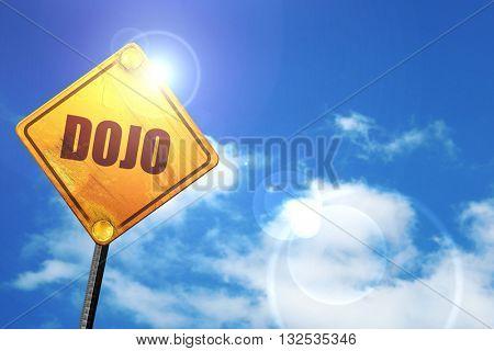 Dojo, 3D rendering, glowing yellow traffic sign