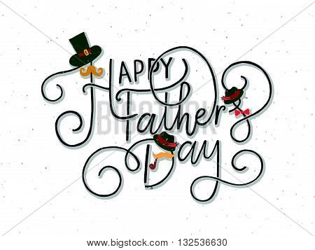 'happy Father's Day' Lettering Typography On Textured Background For Postcard, Card, Invitation.