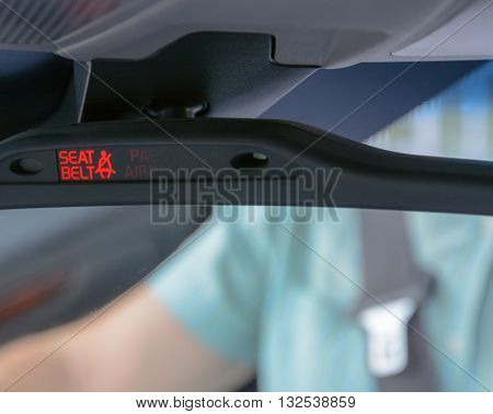 Seatbelt light showing on the Car Rearview Mirror