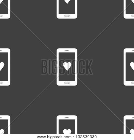 Love Letter, Valentine Day, Billet-doux, Romantic Pen Pals Icon Sign. Seamless Pattern On A Gray Bac