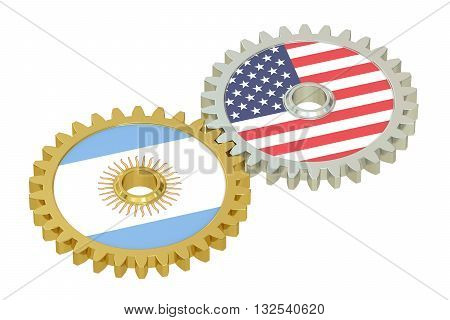 Argentina and United States relations concept flags on a gears. 3D rendering isolated on white background
