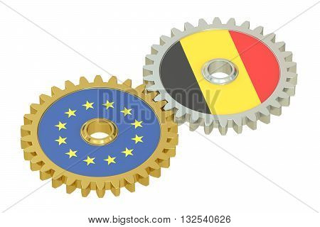 Belgium and EU flags on a gears 3D rendering isolated on white background
