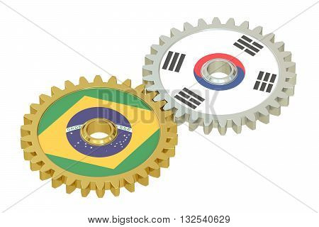 Brazil and South Korea flags on a gears 3D rendering isolated on white background