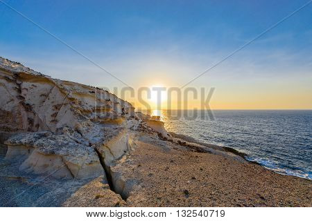 Sykia Beach or Sykia Cave was a sea cave the roof of which collapsed creating a sink hole. The crack is evidence of a landslip. It is located on the West coast of Melos Island in Greece.
