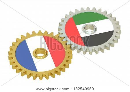 France and UAE relations concept flags on a gears. 3D rendering isolated on white background