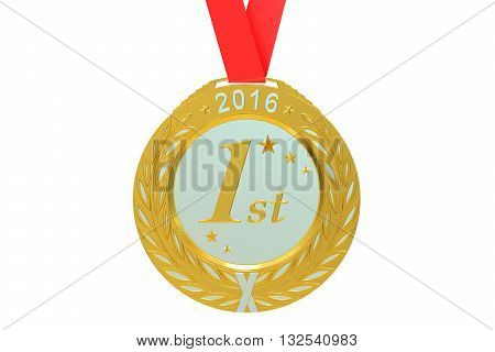 Gold medal 2016 3D rendering isolated on white background