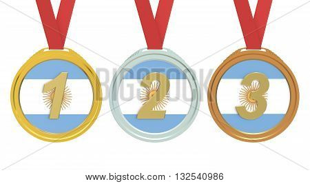 Gold Silver and Bronze medals with Argentina flag 3D rendering