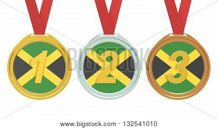 Gold Silver and Bronze medals with Jamaica flag 3D rendering