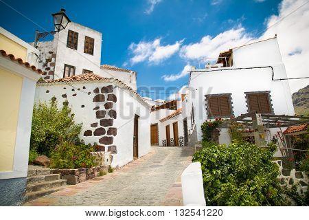 City streets on  Santa Lucia de Tirajana on Gran Canaria in Spain.