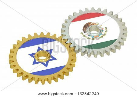Mexico and Israel flags on a gears 3D rendering isolated on white background