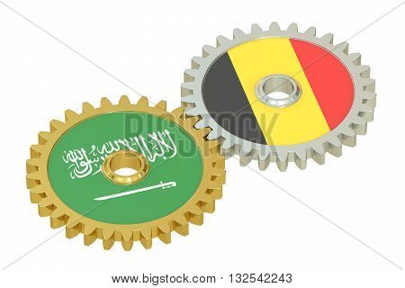 Saudi Arabia and Belgium relations concept flags on a gears. 3D rendering isolated on white background