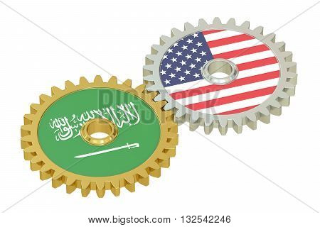 Saudi Arabia and United States relations concept flags on a gears. 3D rendering isolated on white background