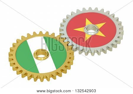 Vietnam and Nigeria flags on a gears 3D rendering isolated on white background