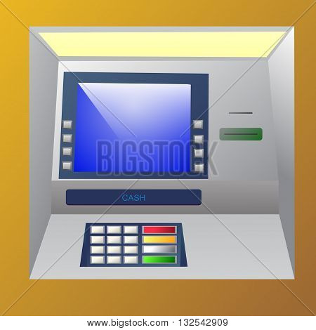Bankomat vector illustration. ATM machine for operations with money front view.