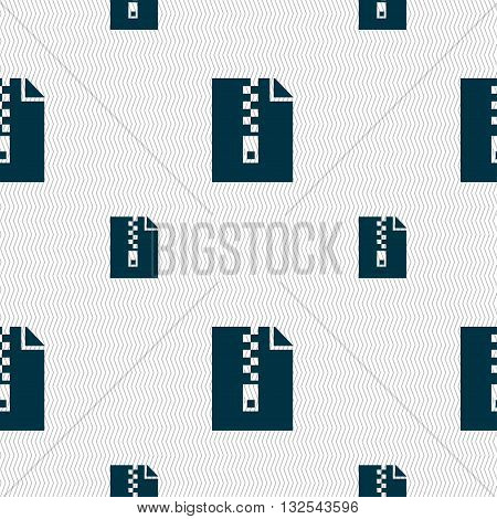 Computer Zip Folder, Archive Icon Sign. Seamless Pattern With Geometric Texture. Vector