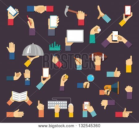 Hands with objects. Vector hands hold devices and tools. Hand and object, device tool hand, equipment hand, human hand with mobile communication illustration