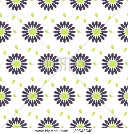 Daisy chamomile vector seamless pattern. Violet camomile floral background for wrapping textile or linen.