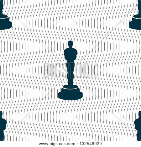 Oscar Statuette Icon Sign. Seamless Pattern With Geometric Texture. Vector
