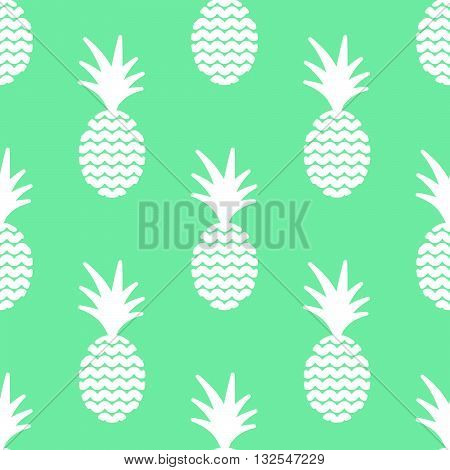 Pineapple simple vetor seamless background. Textile fabric green mint ananas pattern. Baby simple apparel and linen design.