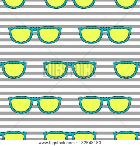 Pop sunglasses retro seamless vector pattern in neon yellow and blue colors. Hipster eyewear on grey stripe background.