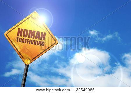 human trafficking, 3D rendering, glowing yellow traffic sign