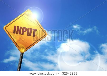 input, 3D rendering, glowing yellow traffic sign