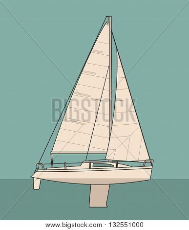Sailing yacht. Sailboat. Vector drawn flat illustration for yacht club.