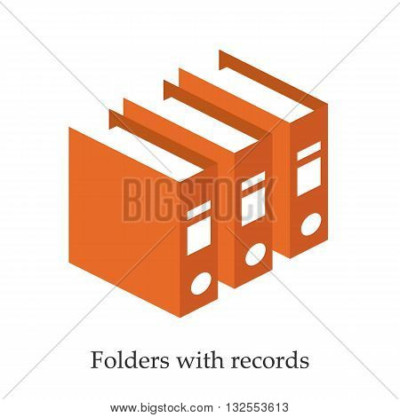 Folders with records for doctors. Isometric vector illustration