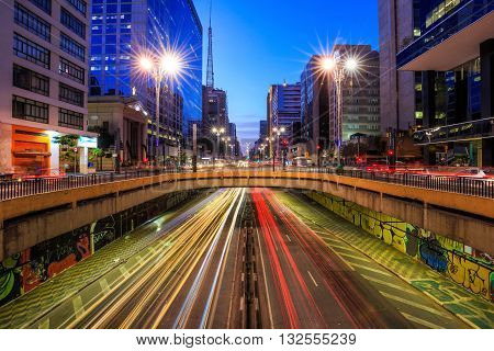 Paulista Avenue At Twilight In Sao Paulo