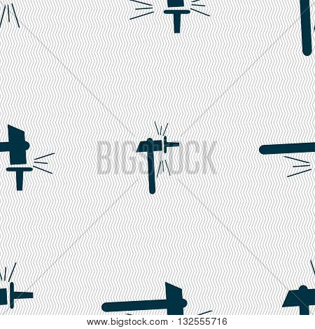 The Smithy. Forge And Stithy, Blacksmith Icon Sign. Seamless Pattern With Geometric Texture. Vector