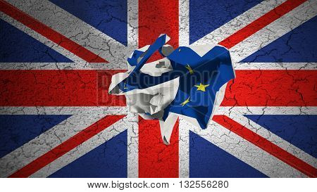 brexit rolling crumpled paper with blue european union EU flag on grunge great britain uk flag vote referendum for united kingdom exit concept