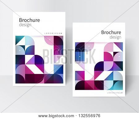 White brochure cover template / design creative concept cover for catalog, report, brochure, poster. Blue and purple abstract geometric background. vector-stock EPS 10.