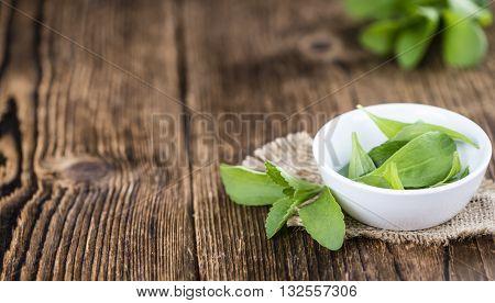 Some Fresh Stevia Leaves (selective Focus)