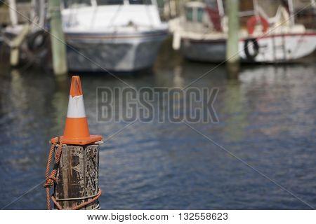 Cone on a pole in the harbor Melbourne Australia