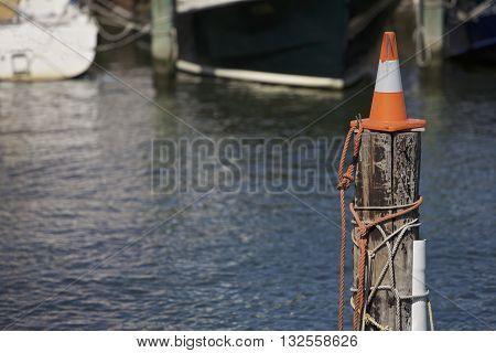 Cone on a pole in the harbor Melbourne, Australia