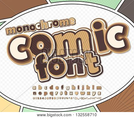 Monochrome chocolate high detail comic font on comic book page. Alphabet in style of comics, pop art. Multilayer funny letters, figures for decoration of kids' illustrations, posters, comics, banners