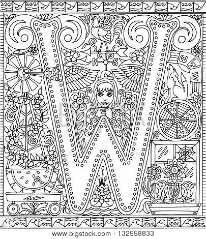 Adult Coloring Book Poster Alphabet Letter W Black and White Vector Illustration
